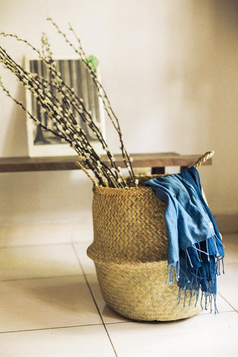 水草の筒型 籠バッグ L