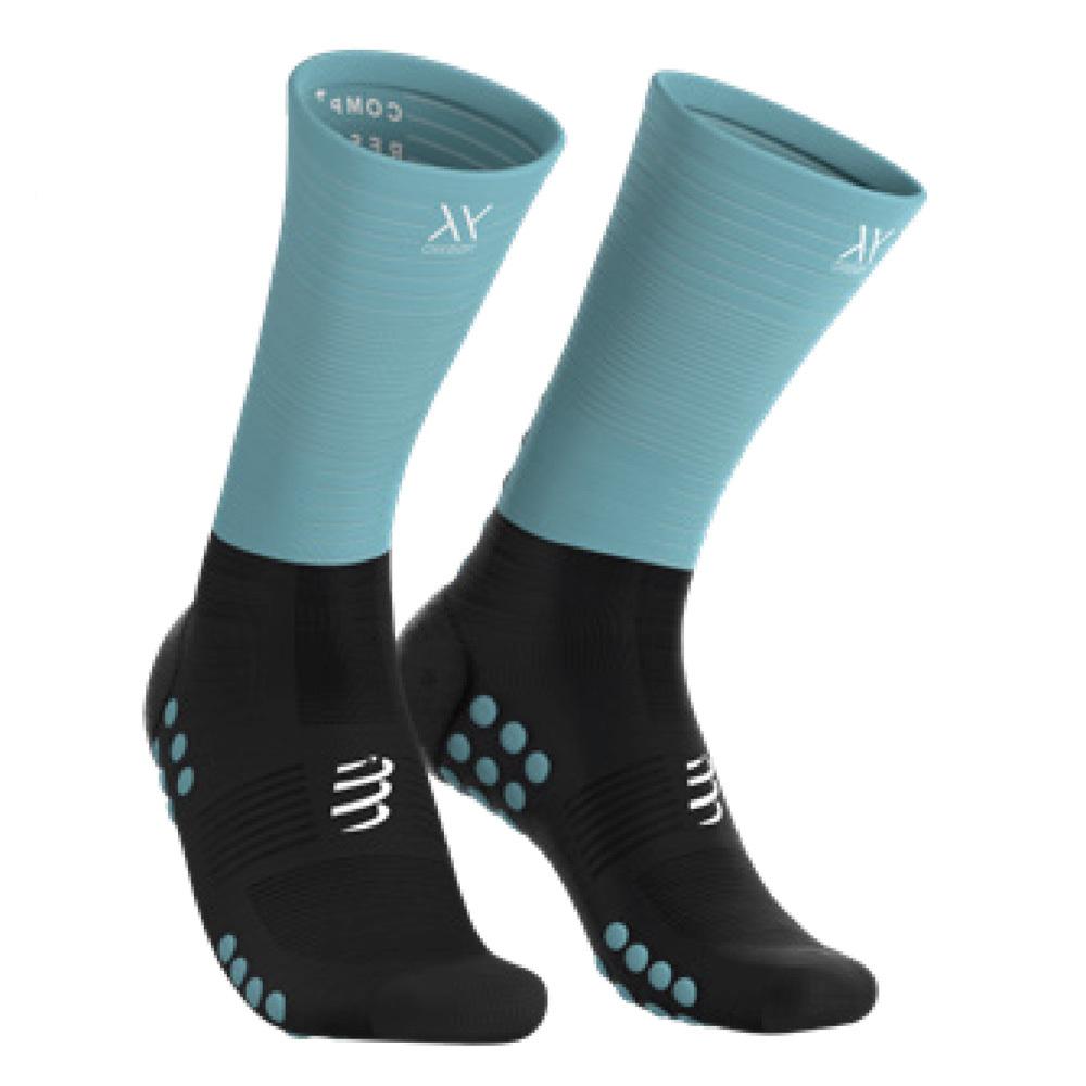 COMPRESSPORT コンプレスポーツ Mid Compression Socks ミッド コンプレッション ソックス BLACK/ICE BLUE