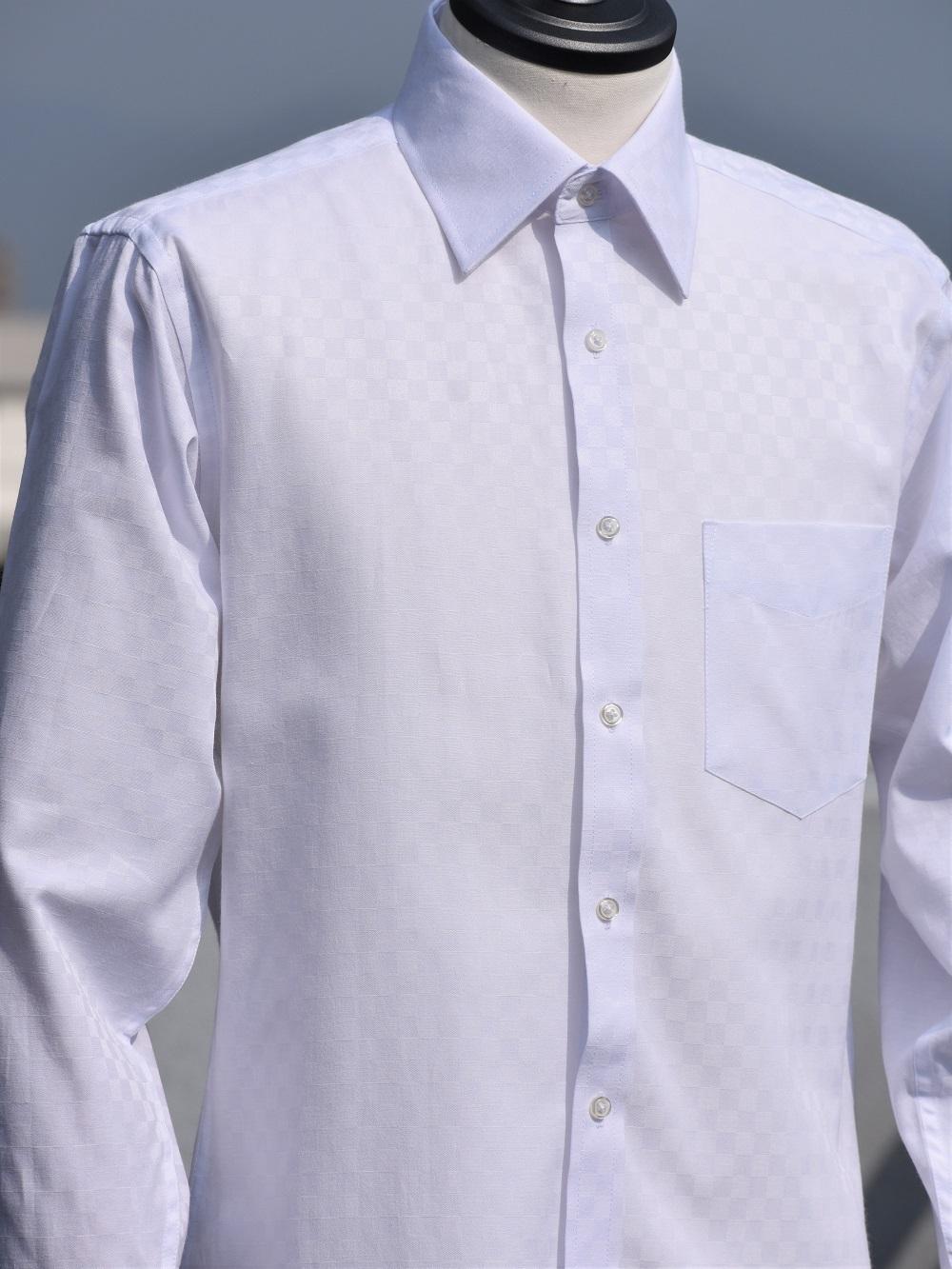 市松模様柄シャツ(ホワイト) M401SW