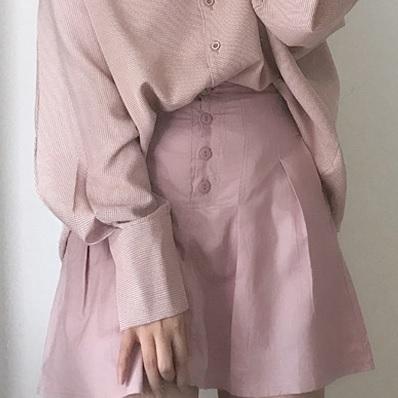 【送料無料】可愛い台形シルエット♡フロントボタン ミニ 台形 スカート 脚長 美脚 ハイウエスト
