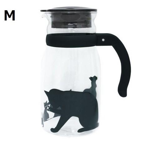 猫ピッチャー(黒猫ガラスピッチャー)M