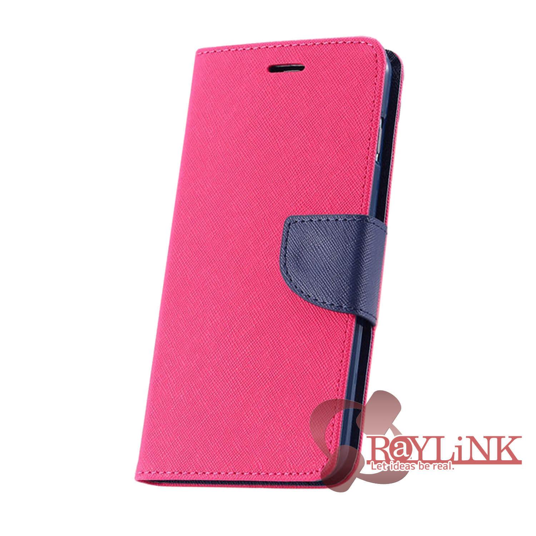 【スマホケース】Floveme iPhone7用二つ折りレザーケース 赤x黒