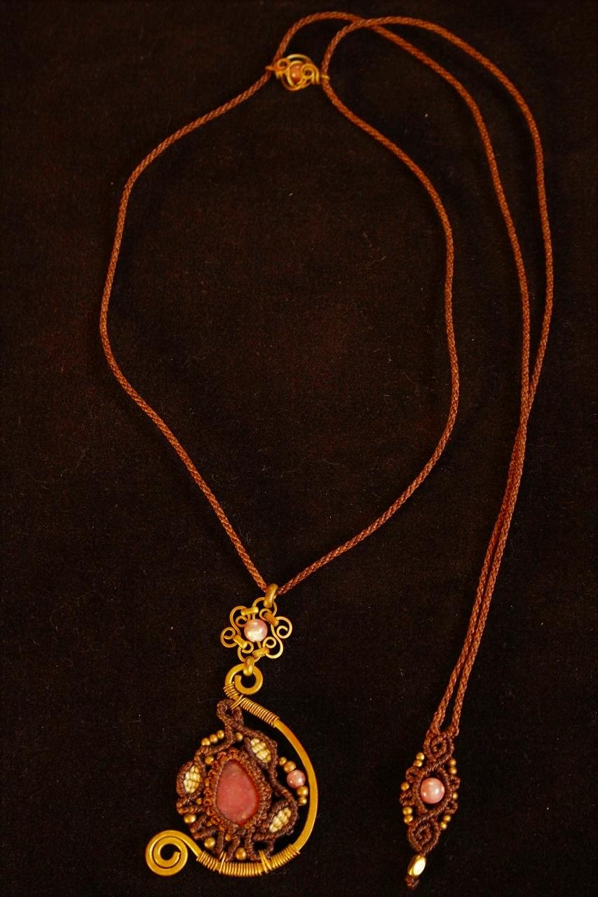Rhodochrosite brasswire macrame pendant