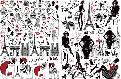 【SET割引】Paris.style パリスタイル  A4サイズ2枚セット ポーセりンアート転写紙