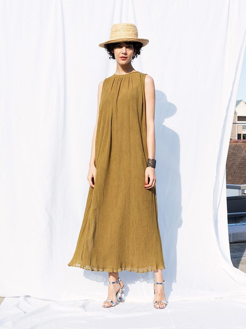 crepe gathered long dress