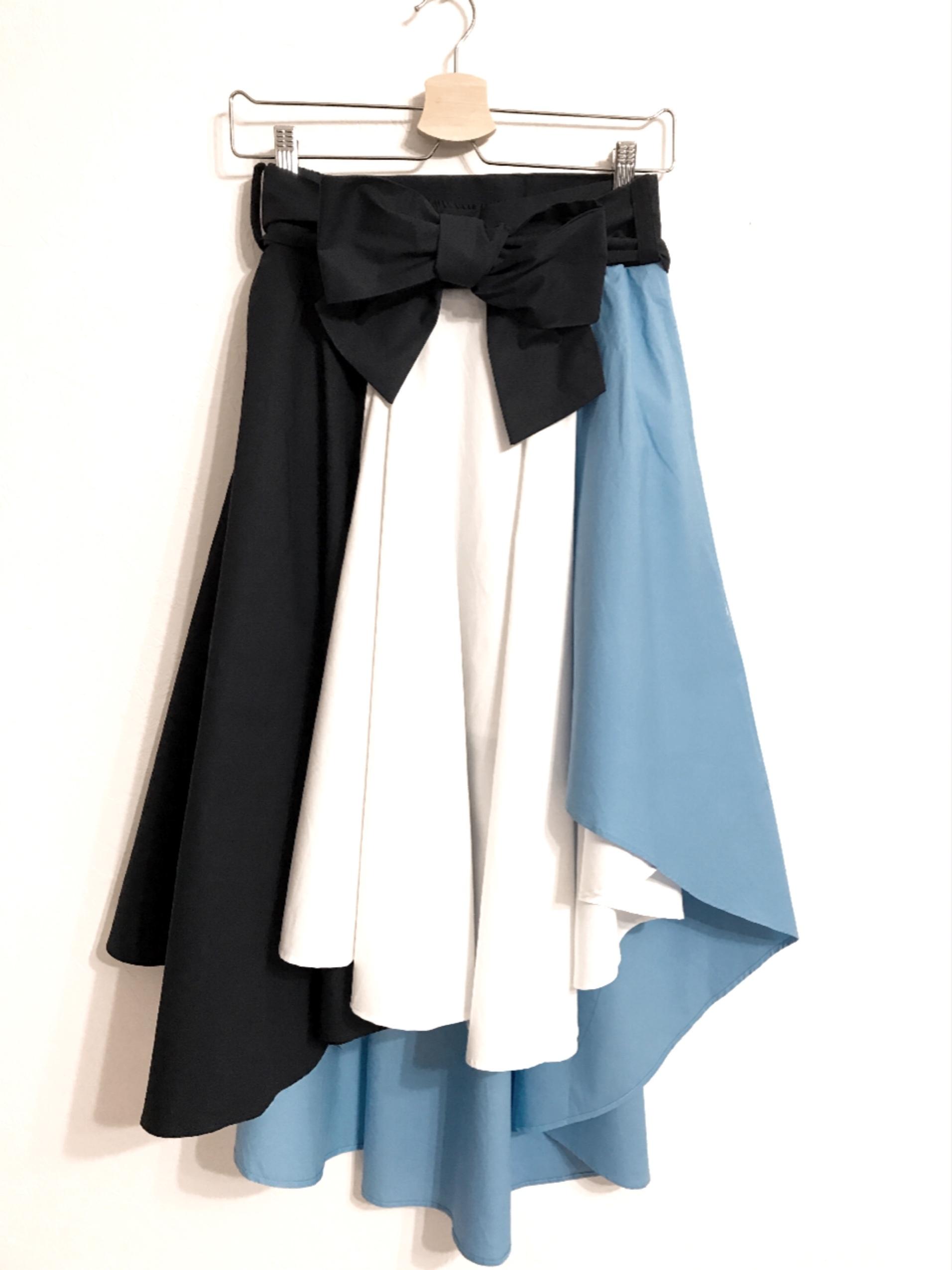 再再入荷★配色切り替えのフィッシュテールスカート ブルー