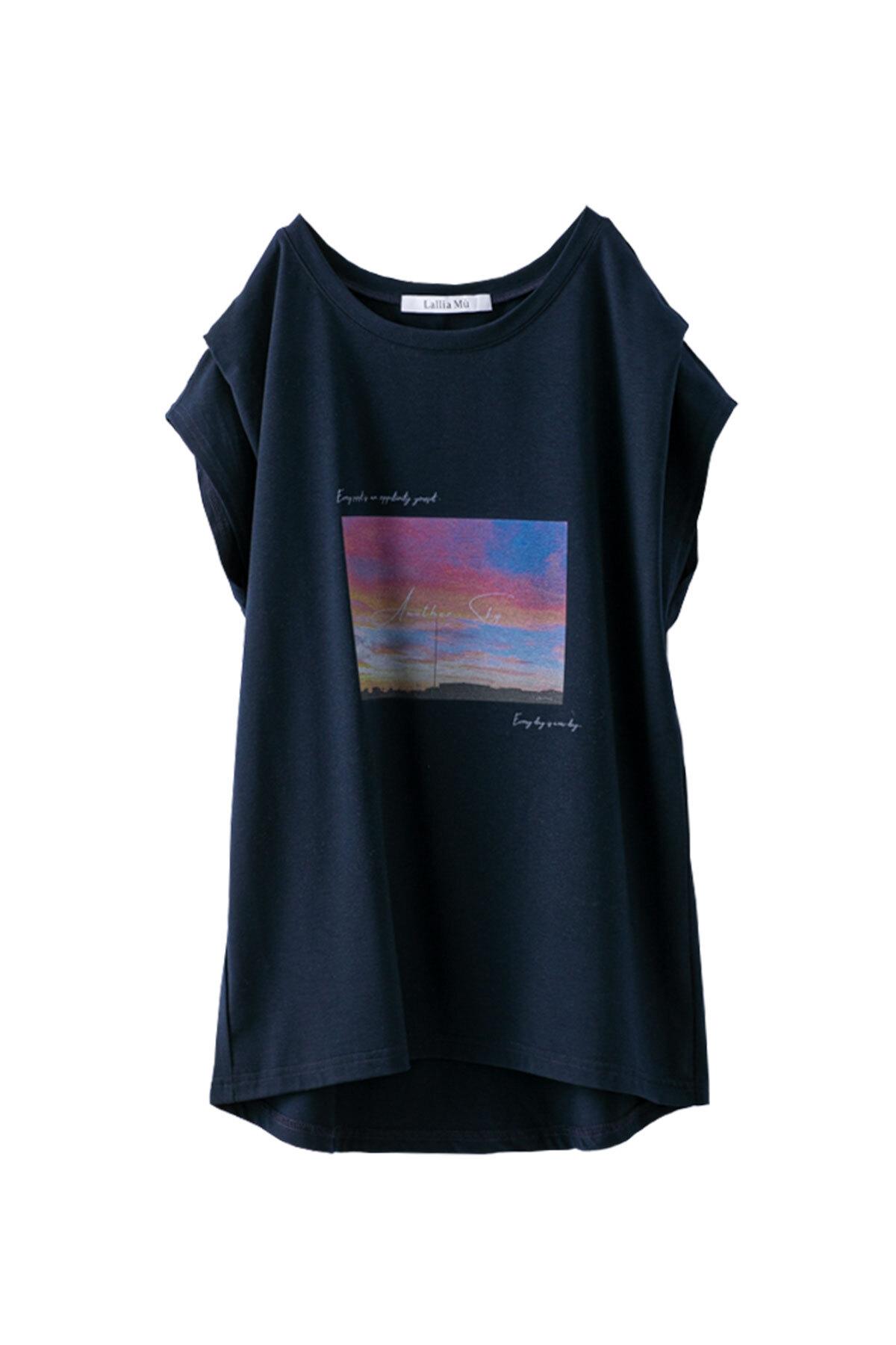 フォールドスリーブTシャツ <ネイビー>