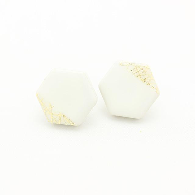 伝統工芸品 美濃焼 六角形 木漏れ日のイヤリング&ピアス