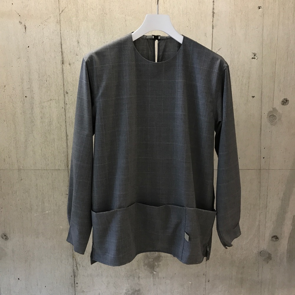 meanswhile CORDURA WOOL STRETCH WINDOW-PEN PULLOVER SHIRT GRAY