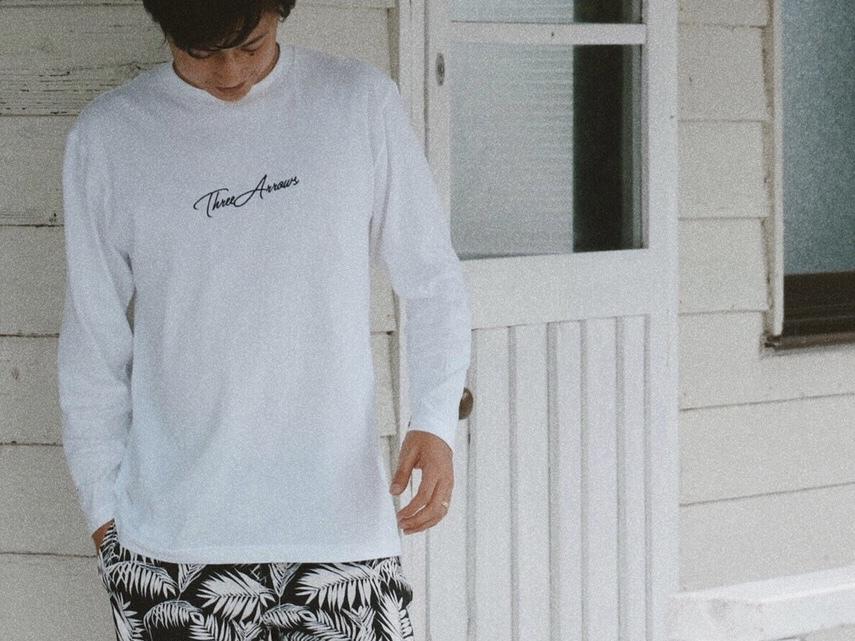 【11/2 21:00 再入荷】ThreeArrows刺繍 L/S TEE (white)