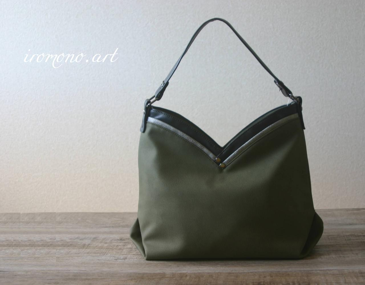 大人カジュアルデザインバッグ 【カーキ】