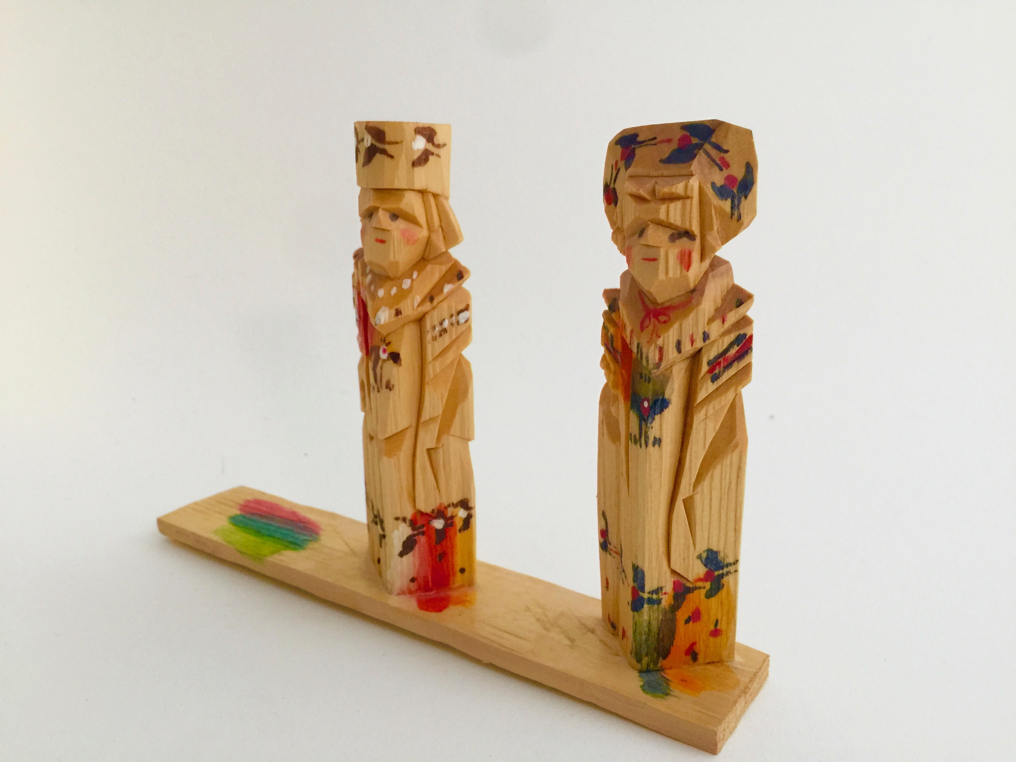 ロシア 木彫り人形(ペア2)