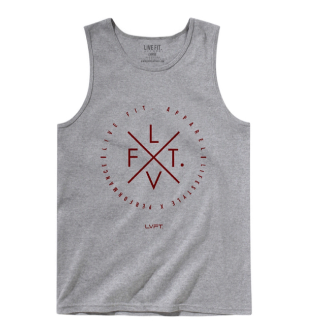 LIVE FIT Zone Tank- Heather Grey/Dark Red