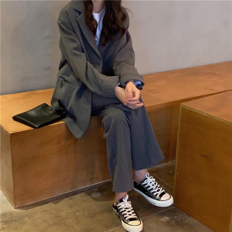 【送料無料】ハンサムコーデ ♡ 2点セット セットアップ きれいめ メンズライク カジュアル ジャケット × パンツ