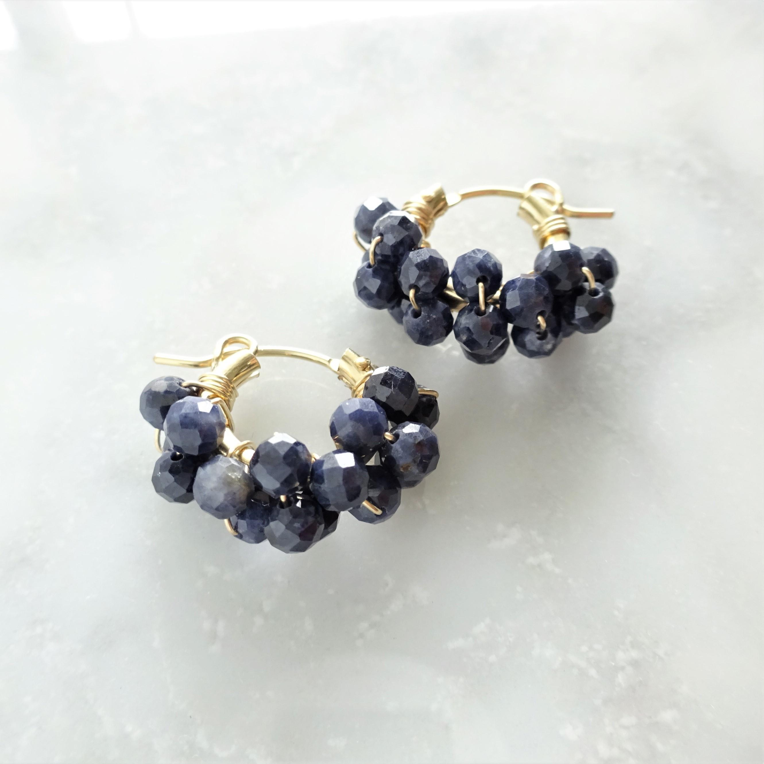 送料無料 14kgf*Sapphire wrapped pierced earring / earring