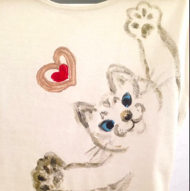 猫シリーズ ぱあ   手描きTシャツ