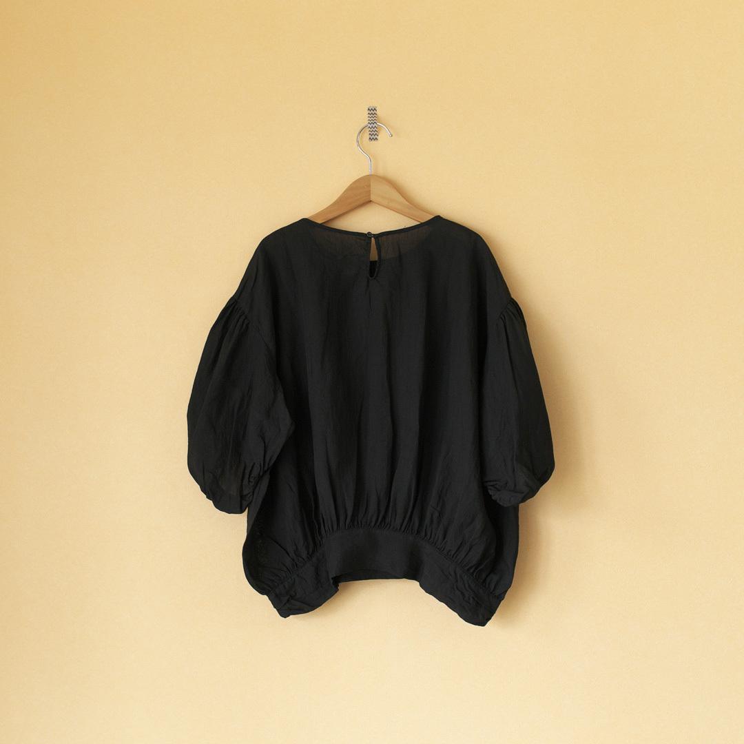 Gauze# ガーゼ G491 ramie linen baloon blouse ラミーリネンバルーンブラウス・ブラック