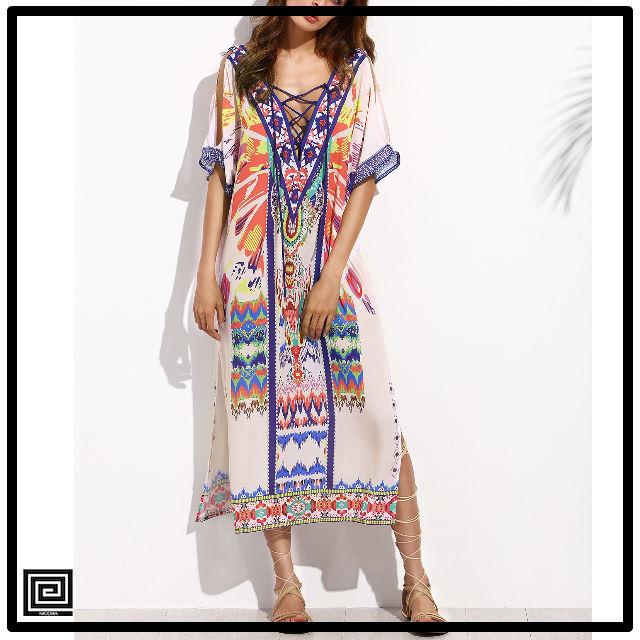 マルチカラープリントクリスクロスフロントスプリットサイドミディアムドレス