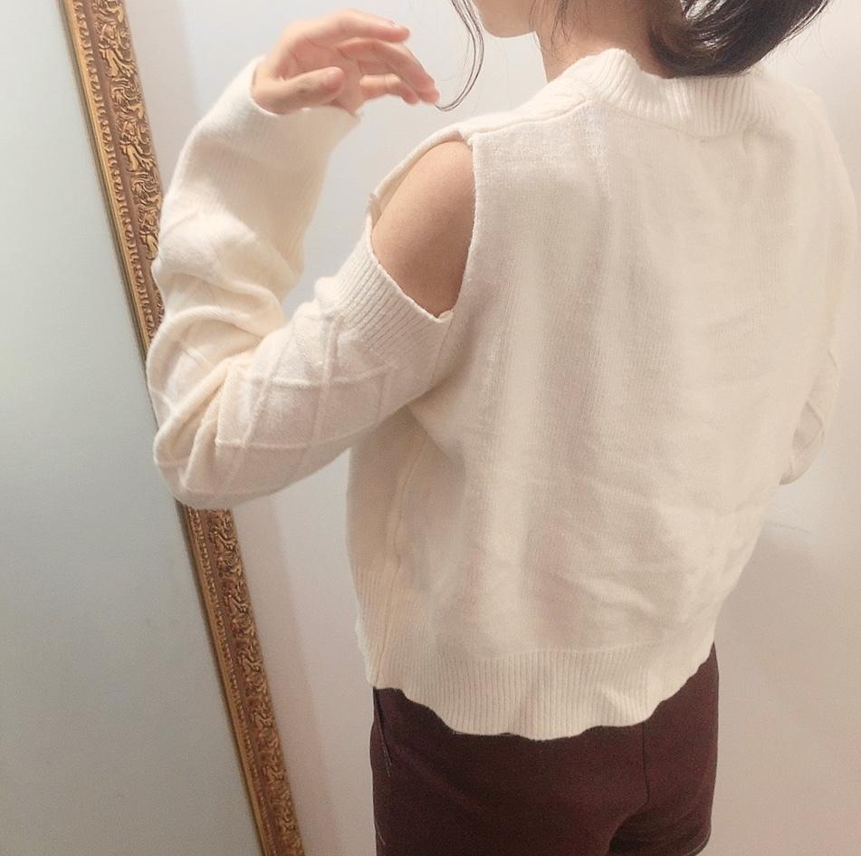 open shoulder knit