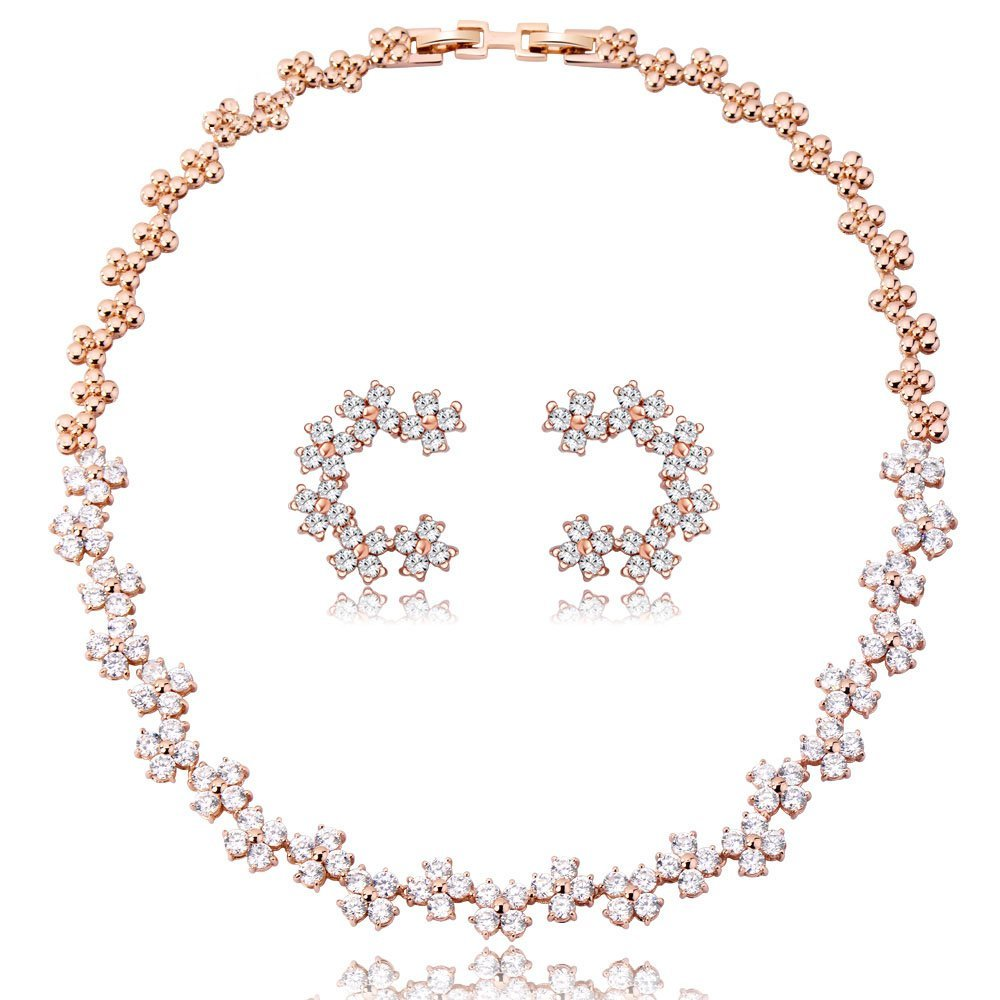 IUHA 満点星 ネックレス & ピアス 2点セット オーストリア産ジルコニア レディース クリスマス プレゼント ギフト アクセサリー ジュエリー アレルギー対応 変色防止   10013iuhav