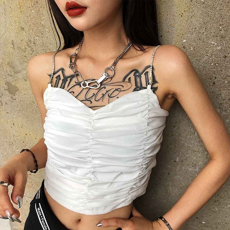 chain shoulder shirring camisole
