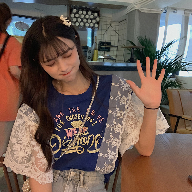 【送料無料】 レース袖が女っぽ♡ カジュアル ロゴ Tシャツ フラワー 刺繍 レース フレアスリーブ