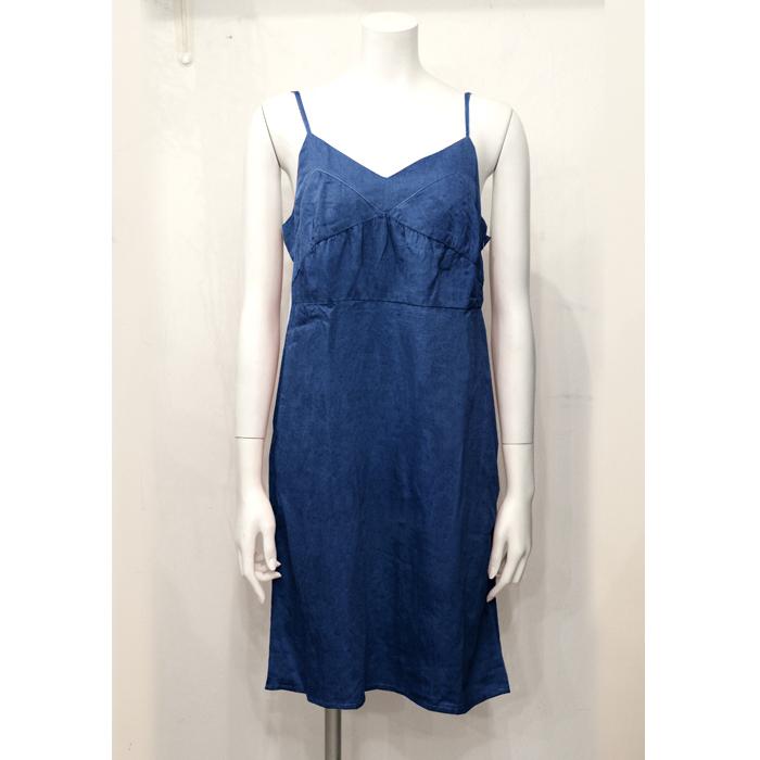 【予約販売】【CANDY】藍染めオーガニックスーピマコットン・レースキャミワンピ