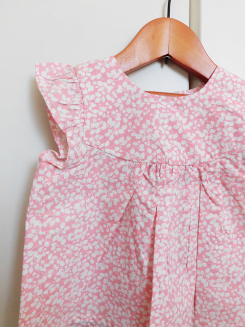 オーガニックコットン 花柄スモックスリーブブラウス ベビー服 【purebaby】