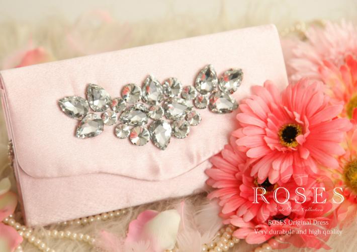 【ROSES OUTLET】⑧プリンセスビジュークラッチ ピンク