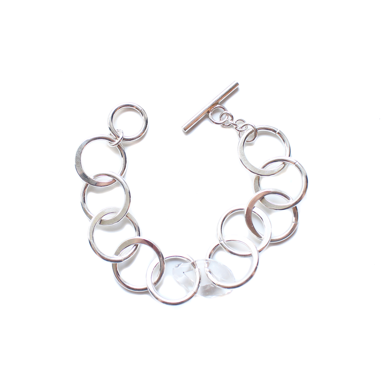 Glass & Silver Chain Bracelet