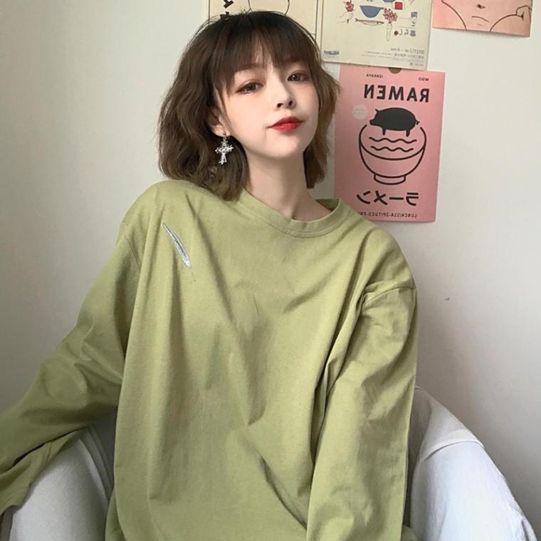 【送料無料】 ワンポイントがおしゃれ♡ 刺繍 ワッペン ゆるだぼ オーバーサイズ ロンT 長袖 Tシャツ カットソー