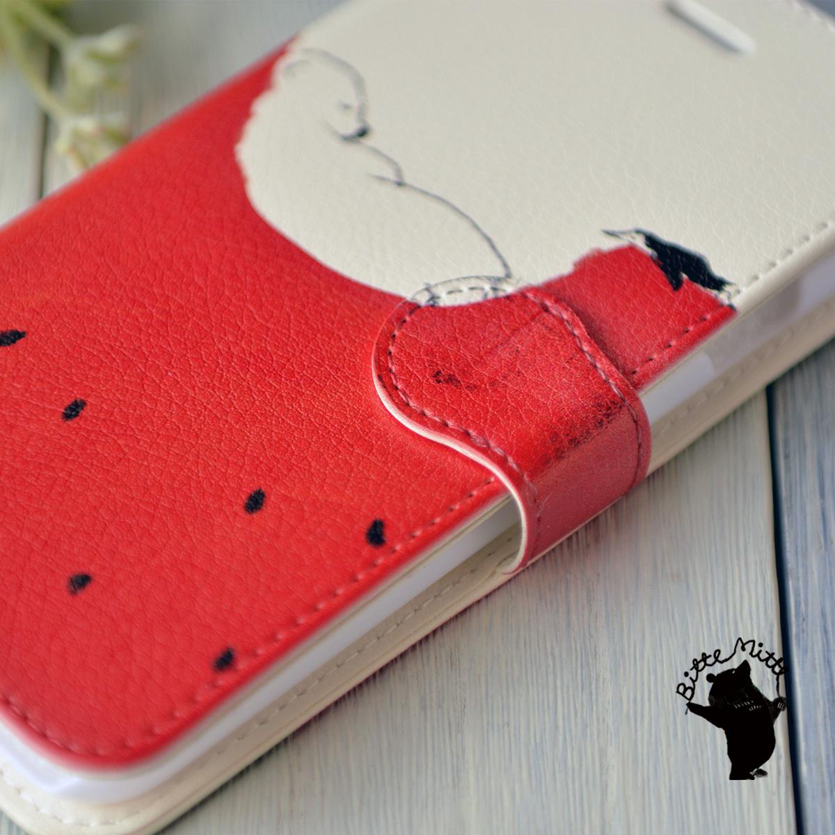 【訳あり】iphone8 ケース 手帳 大人かわいい アイフォン8 ケース 手帳型 かわいい iphone8 ケース おしゃれ シンプル シロクマ しろくま 夏の真ん中で/Bitte Mitte!【bm-iph8t-09001-B1】