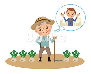 イラスト素材:農家の後継者不足のイメージ(ベクター・JPG)