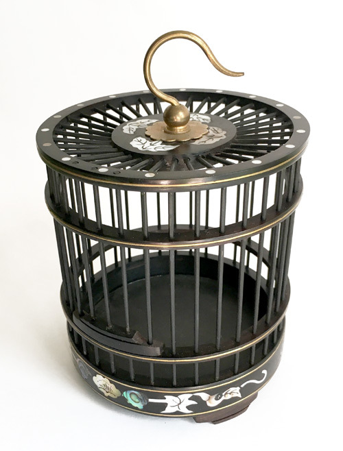 黒檀虫籠 螺鈿 円柱 大サイズ