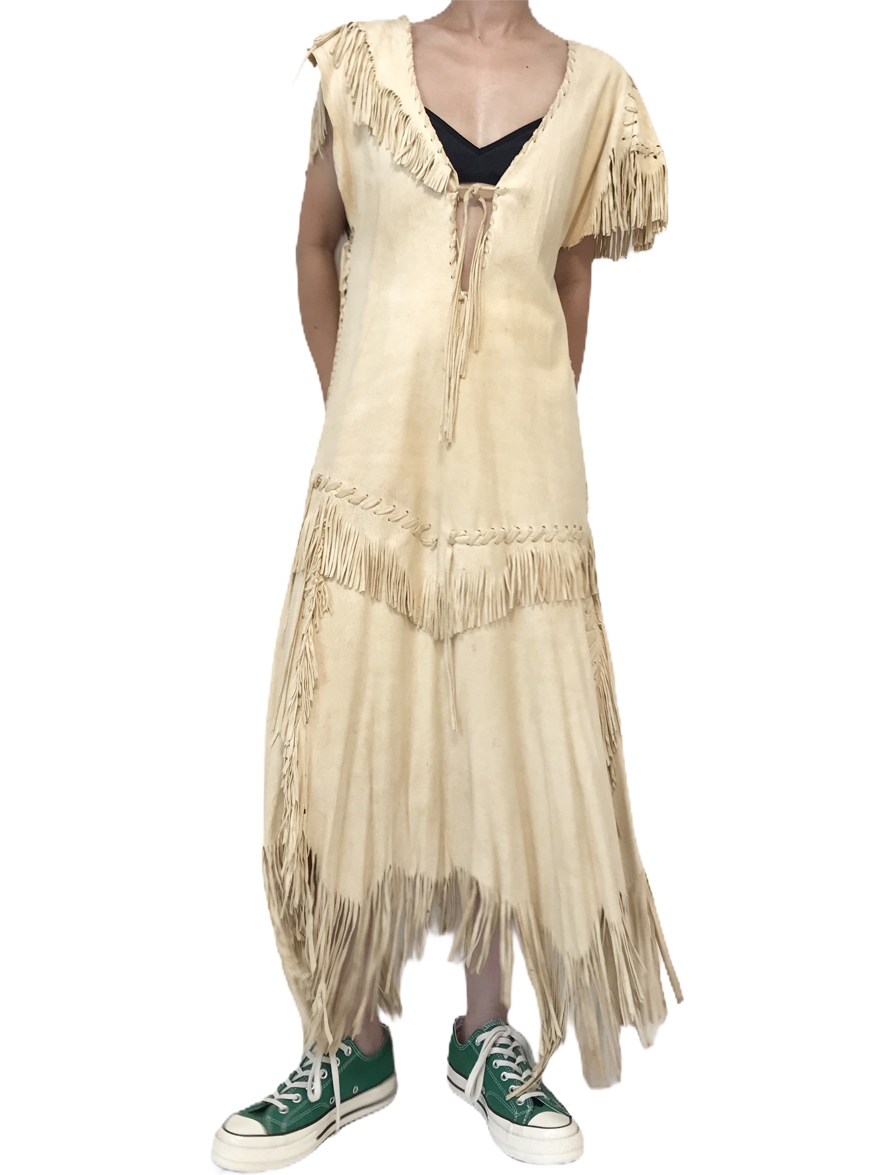 70's Vintage Ivory Deerskin Handcrafted Dress