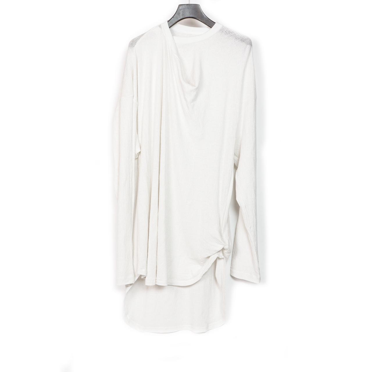 697CUM9-WHITE / ネックドレープロングスリーブ Tシャツ