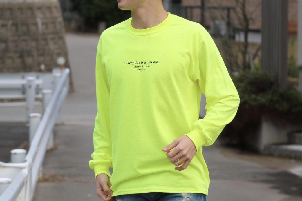 【2/12 21:00 販売開始】ThreeArrows Message L/S TEE(neon yellow)