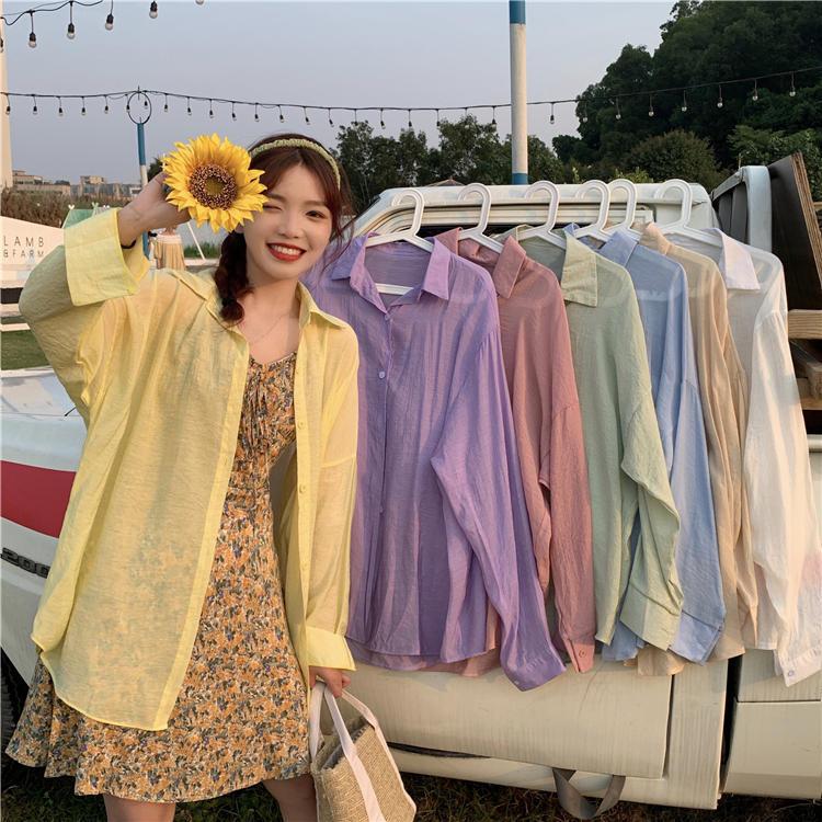 【送料無料】 カラフル パステルカラー♡ きれいめ カジュアル 透け感 シアー オーバーサイズ シャツ ブラウス