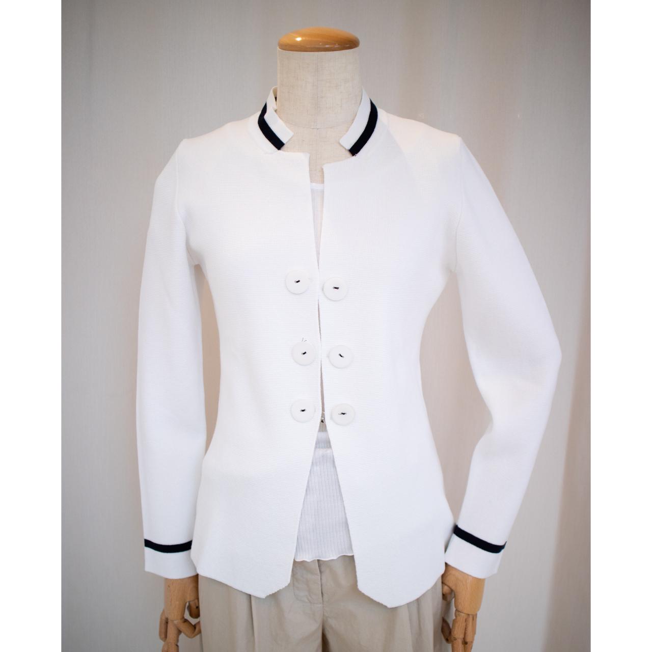 No.000093 ニットジャケット<ホワイト>ビスコース・ナイロン【INTRECCI】