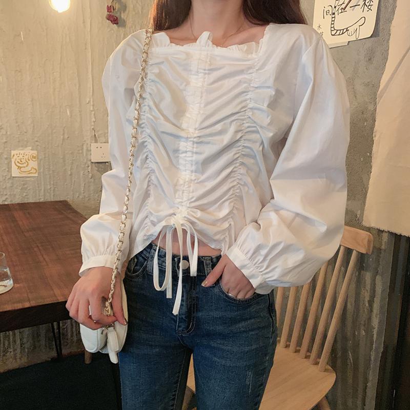 【tops】流行デザイン無地プルオーバーシャツ26924274