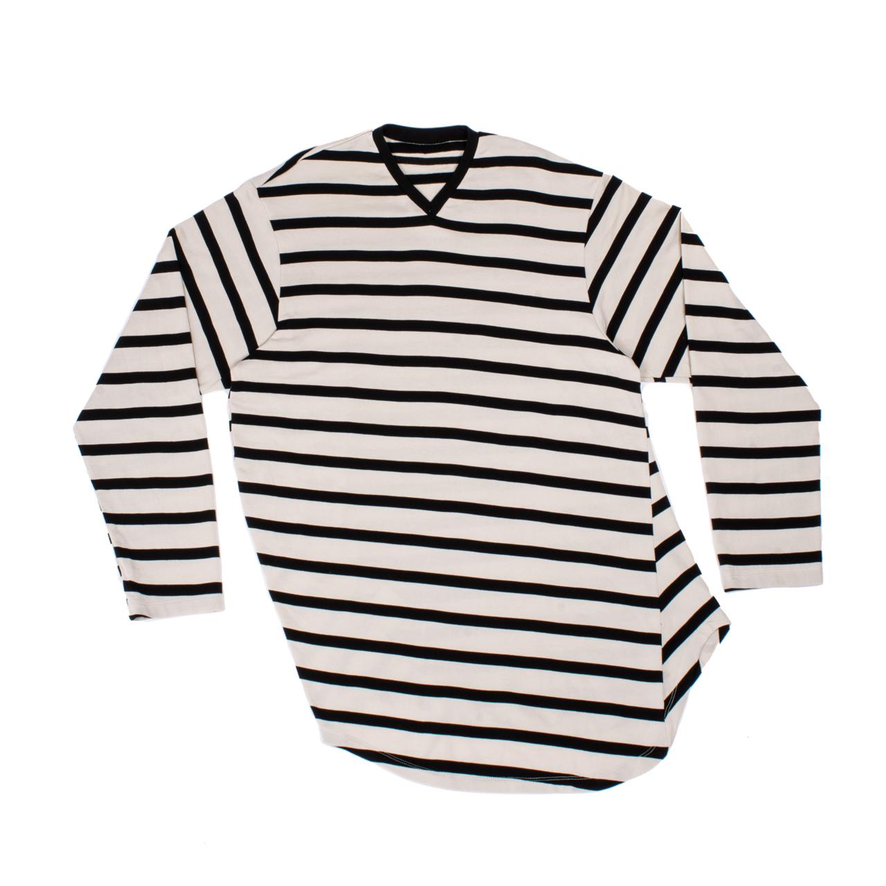 707CUM2-OFF×BLACK / ストライプロングスリーブ Tシャツ
