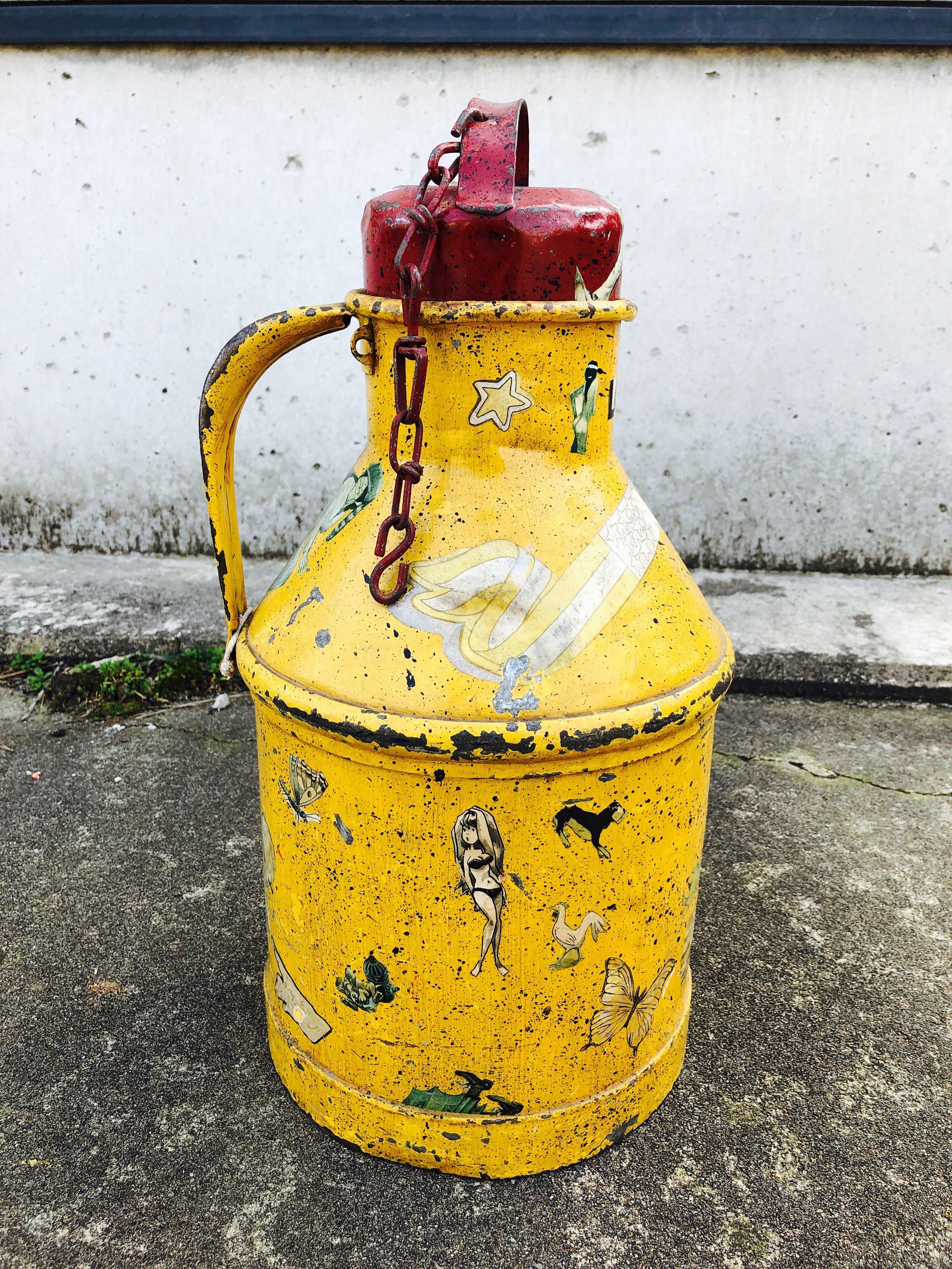 品番6015 タンク ミルク缶 イエロー レトロ アンティーク ヴィンテージ