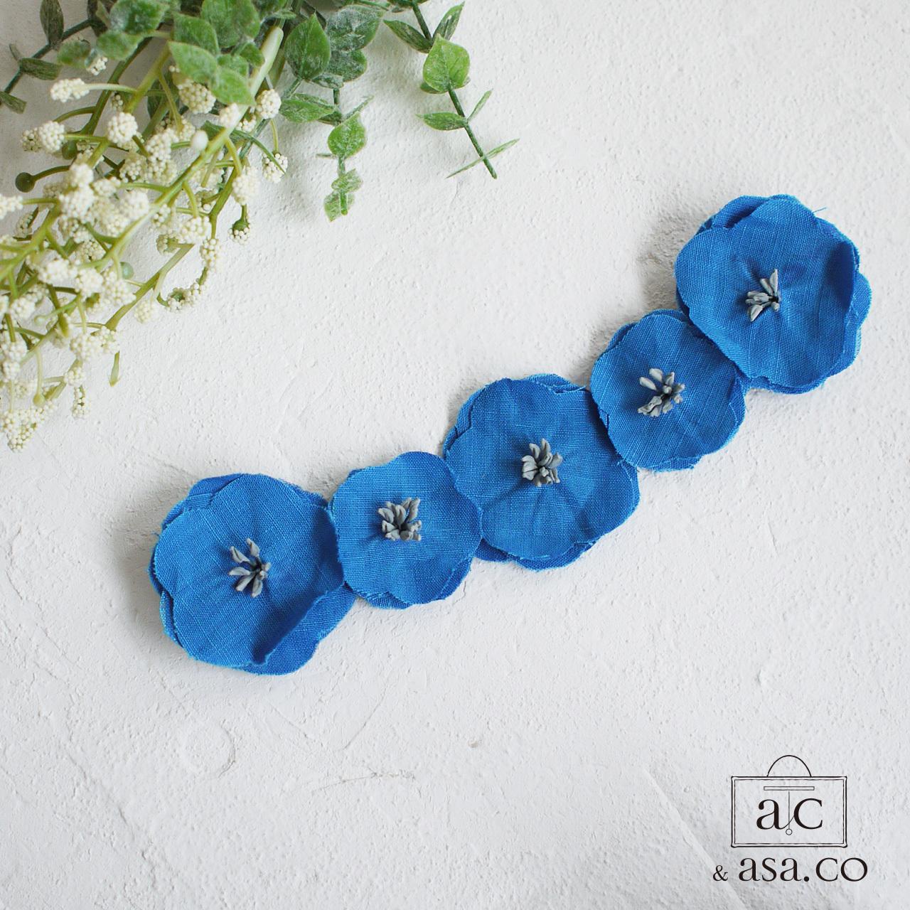 麻の襟元ブローチ 〈 Romantic 〉Blue