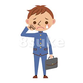 イラスト素材:涙を流して泣く学生服姿の男子中学生・高校生(ベクター・JPG)