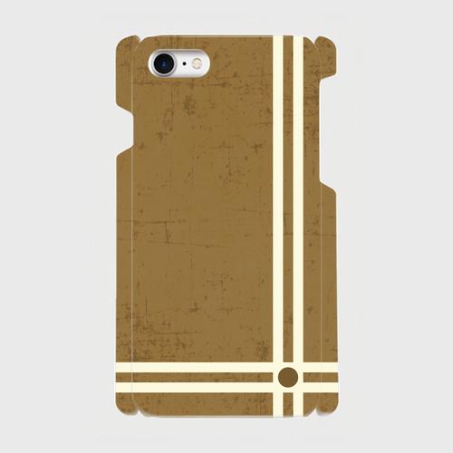 レトロストライプ(灰茶) / iPhoneスマホケース(ハードケース)