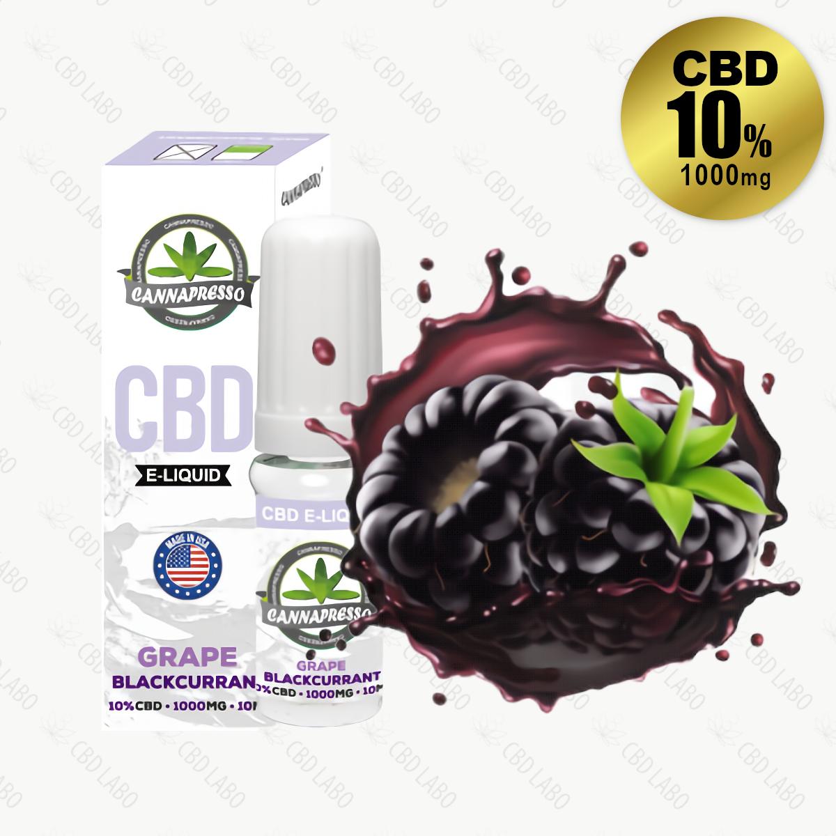 【送料無料】CANNAPRESSO CBDリキッド グレープ・ブラックカラント 10ml CBD含有量1,000mg (10%)