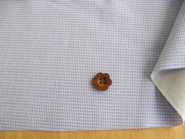 綿ギンガムチェック・ボンディング加工 サックスブルー CTN-0141