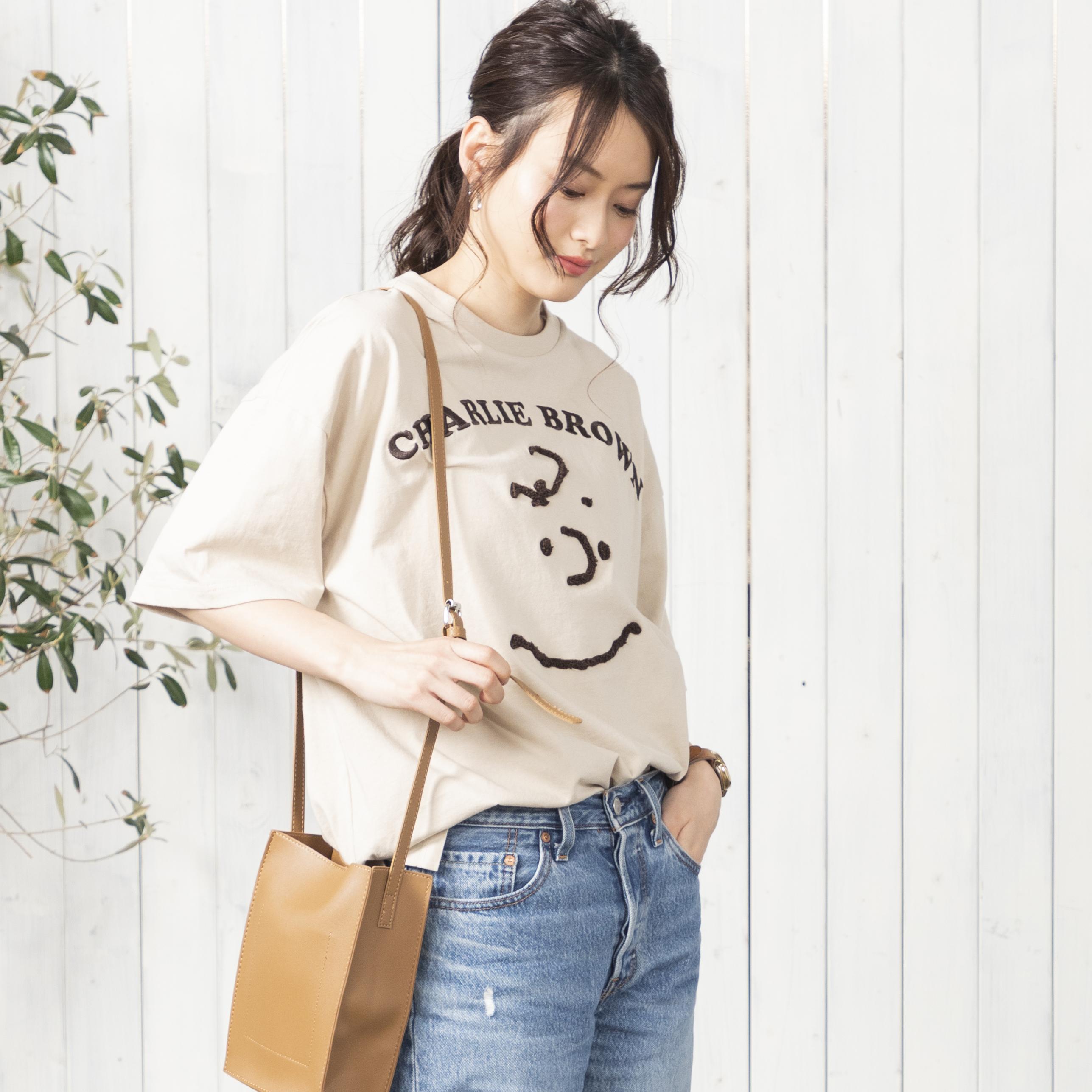【スヌーピー】オーバーシルエット チャーリーブラウンFACE Tシャツ NO0530127