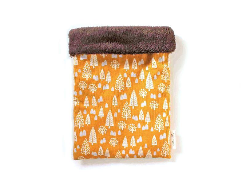 ハリネズミ用寝袋 M(冬用) コーデュロイ×ボアフリース フォレスト イエロー