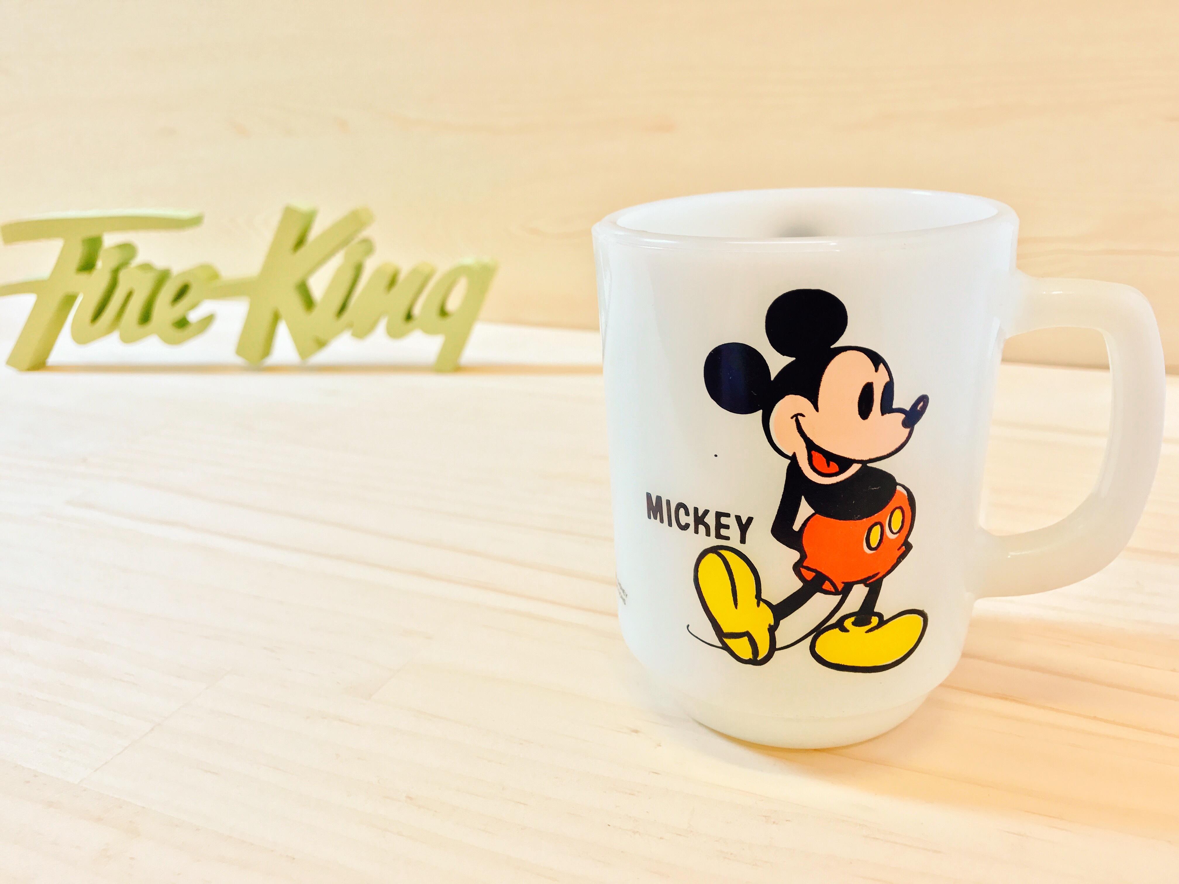 "[Fire King] ディズニー ""オールドミッキー"" マグ ミルクガラス"